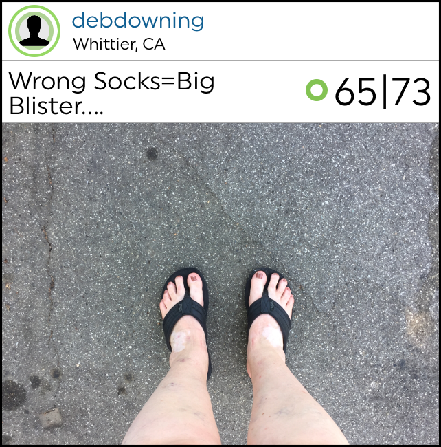 "@debdowning showed us that running shoes are optional with her ""Wrong Socks=Big Blister…"" workout as she finished her 5k in her flips flops!"