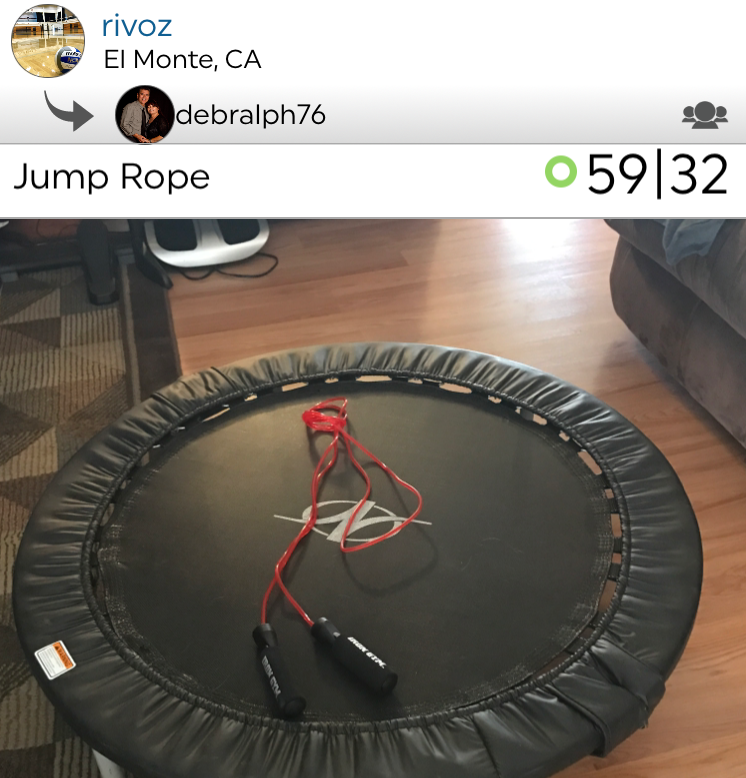 A jump rope workout on a trampoline! Ralph, you must be seriously coordinated.