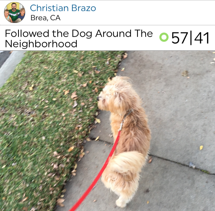 Christian Brazo knows one of the best ways to stay active is letting your dog take you on a walk!
