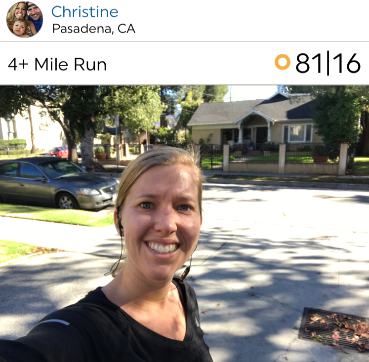 Christine, with a nice selfie and nice run in Pasadena, CA!