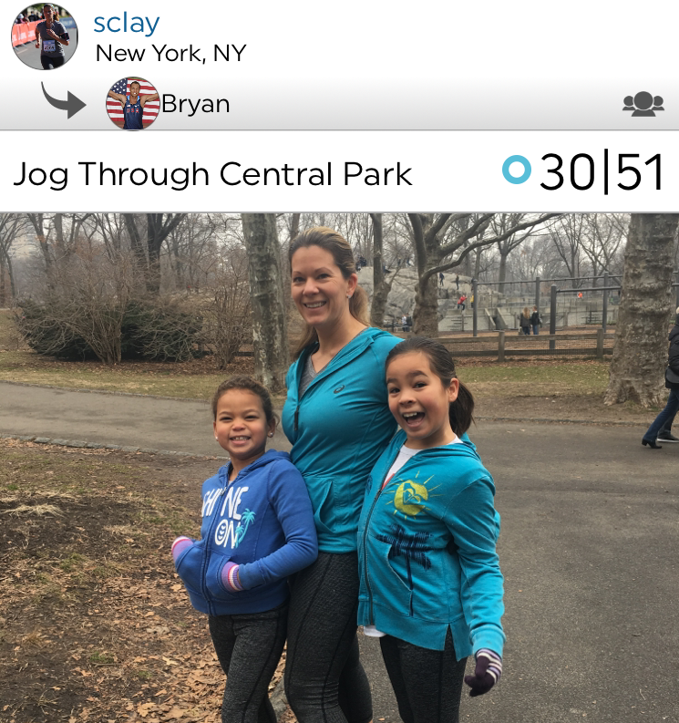 @sclay and our kids, on a jog in Central Park this past week!