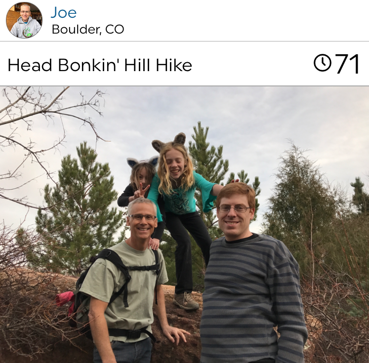 @joecorpdc out on a hike with friends, reminding us workouts together, are always better!
