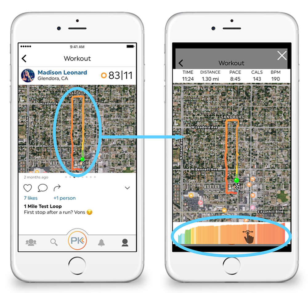 Map Details - Tap on the map to see your data at all points throughout your workout. Slide your finger across the bottom to see your effort, time, distance, pace, calories, and BPM second by second.