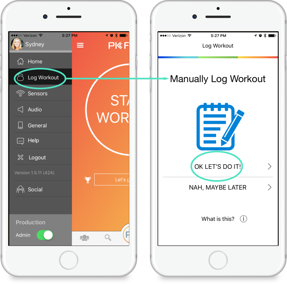 Manually Log Workout - Manually log a workout that you missed tracking by going to the options in the side menu and selecting Log Workout. From there, you will be able to select from a series of options that will help personalize your workout.