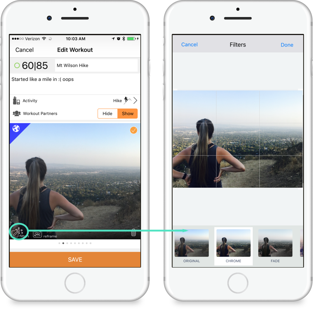 Photo Filters - Apply a photo filter to the photos in your post by tapping the filters button in the lower left of a photo from either the save workout, or edit workout screens. Slide right and left through filters to choose which looks best on your photo.