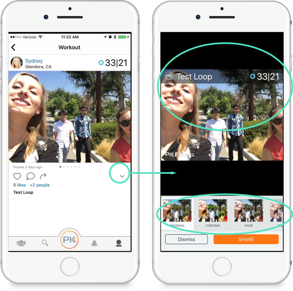 Share as Image - To share your post as an image, tap the sharing button below your workout and select Share as Image. Swipe right and left on the photo to choose overlays. Swipe right and left on the bottom to choose photo filters.
