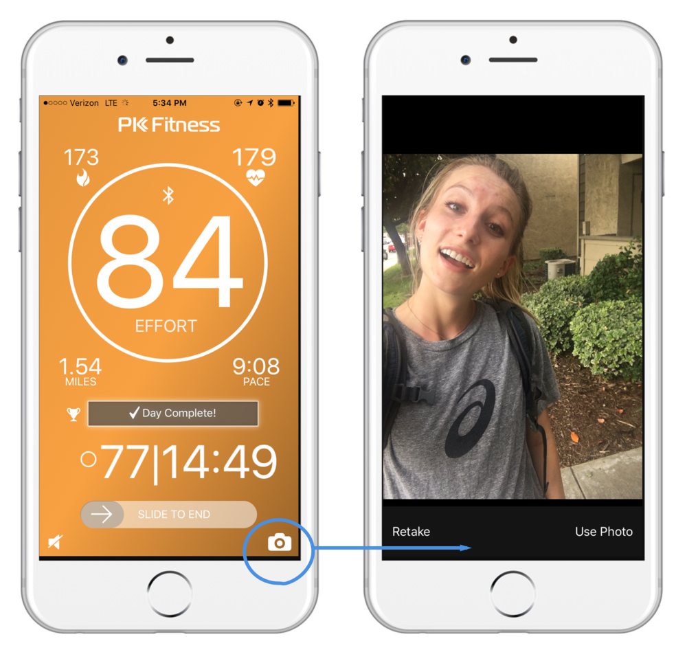 Take a photo while working out. - Tap the Camera button in the lower right corner during a workout to snap a photo of your workout scene!