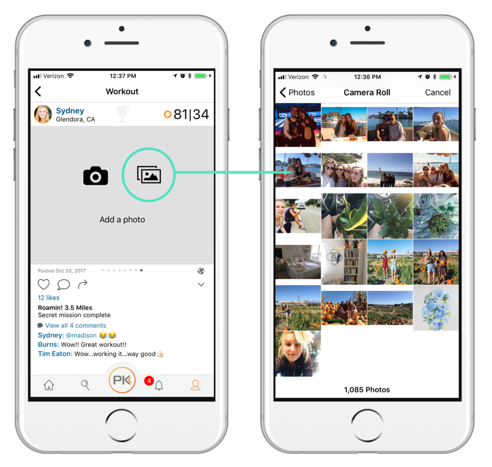 Add a photo from photo gallery. - Snap a photo before, during, or after your workout, and upload it straight from your photo gallery by tapping the image icon on the Add a photo tile of your workout.