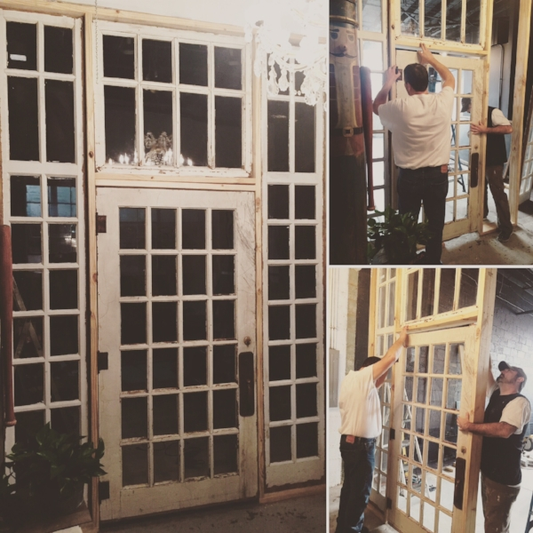 David and Jeremy installing an 1800s French Door