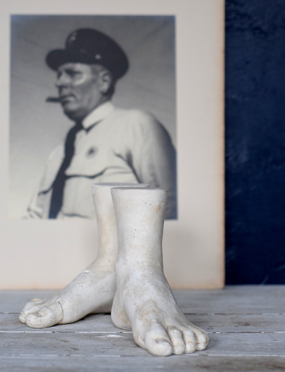The #bossman David told us to get busy working on the online selling site; so we are putting our best foot forward -- actually, a circa 1930's french foot.