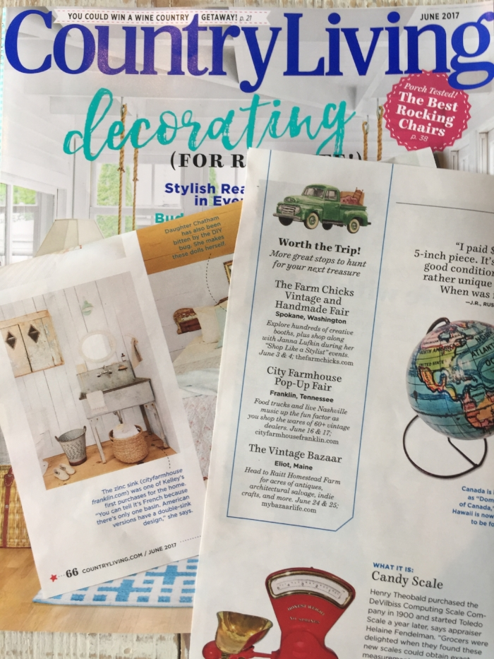 Country Living Magazine features City Farmhouse Pop Up Fair in Franklin TN in May 2017 Issue