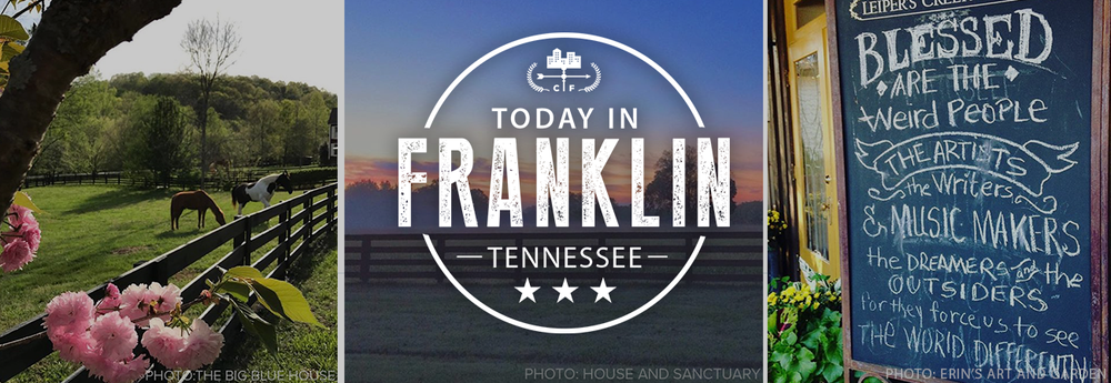 Today in Franklin Tennessee shares fun things to do in Franklin TN, where to stay in Franklin TN, and Franklin TN attractions and shopping for anyone visiting Tennessee!