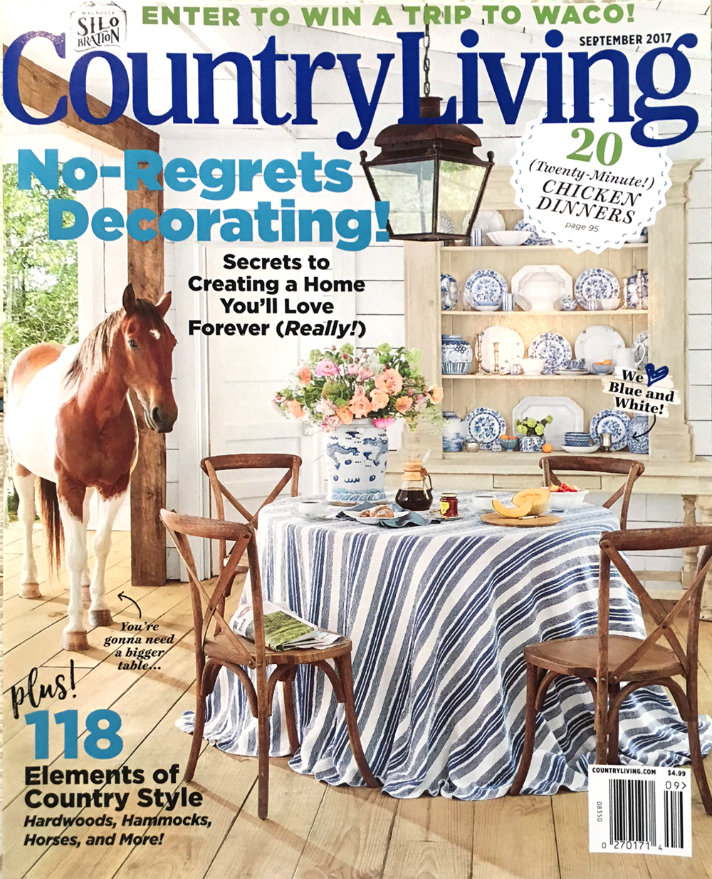Country Living's September 2017 edition features City Farmhouse Style written by Kim Leggett