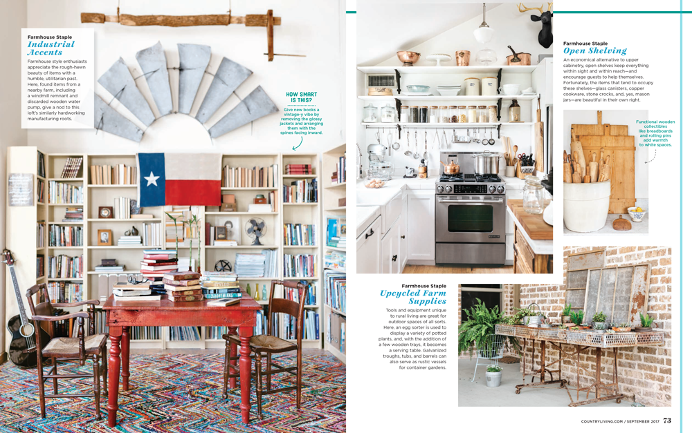 Country Living features City Farmhouse Style written by Kim Leggett