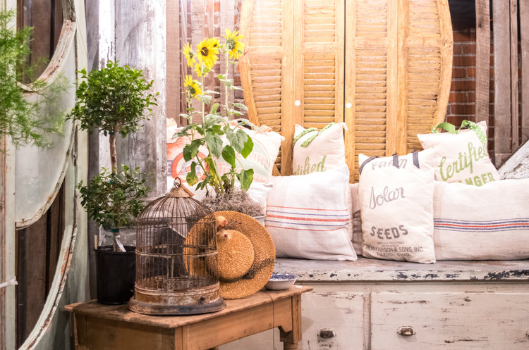 A charming nook with old pillows and antique doors showcased at the City Farmhouse Pop Up Fair | June 2017 | Franklin, TN