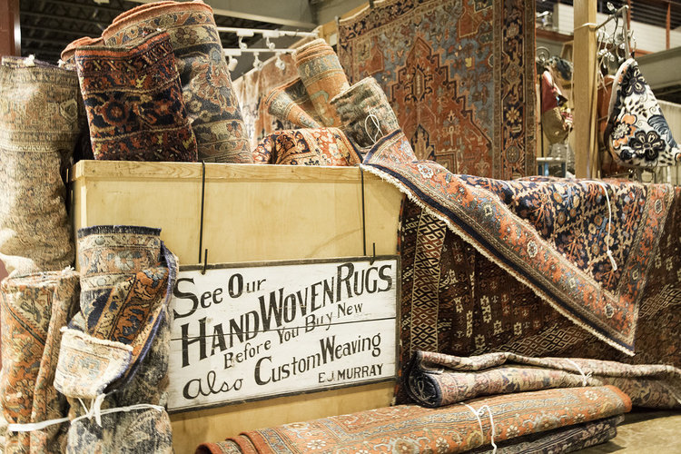 Vintage rugs at the June City Farmhouse Pop Up Fair