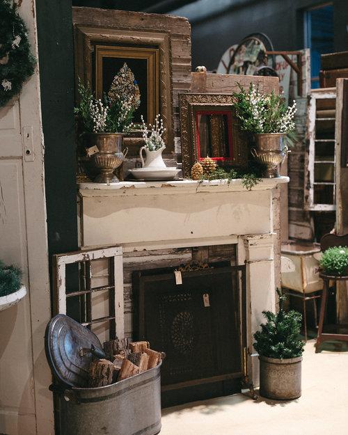 Charming farmhouse style fireplace at the November City Farmhouse Pop Up Fair