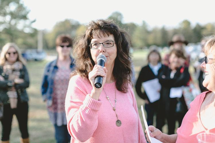 Kim Leggett speaking at the October City Farmhouse Pop Up Fair