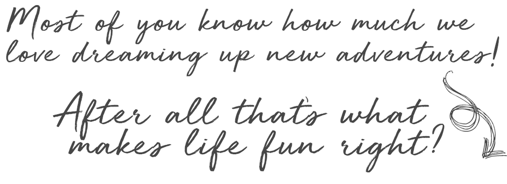 Most of you know how much we love dreaming up new adventures! After all that's what makes life fun right?