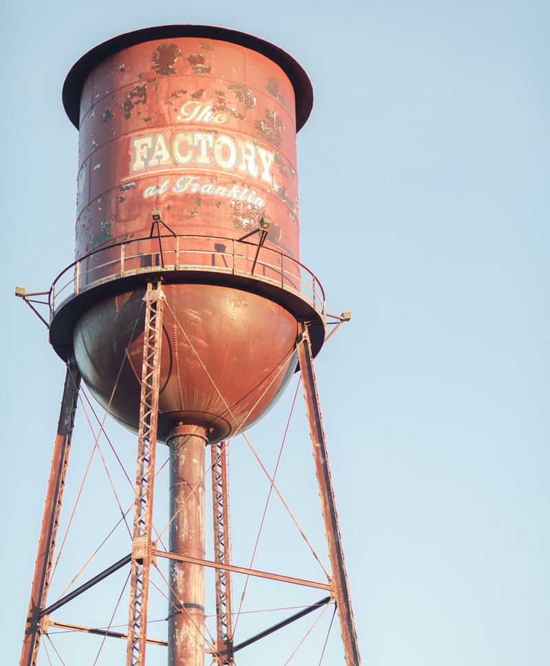 The water tower at The Factory at Franklin in Franklin, TN