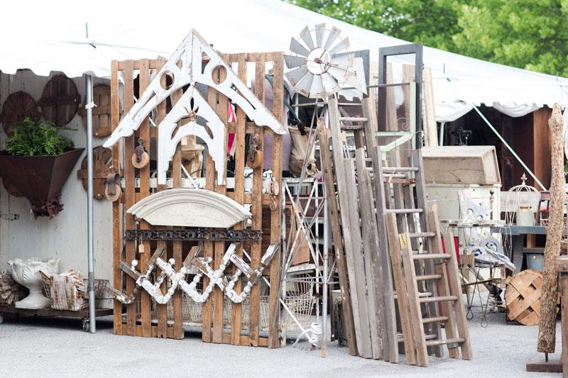 White architectural pieces at the City Farmhouse Pop Up Fair