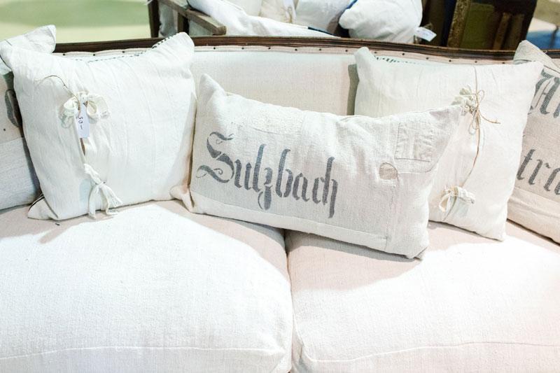 Handmade pillow made from antique fabrics
