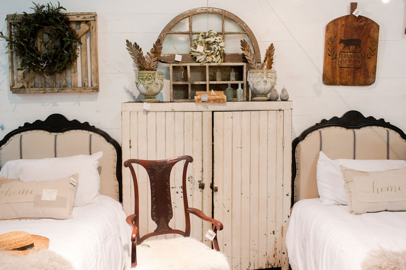 Antique twin beds at the City Farmhouse Pop Up Fair