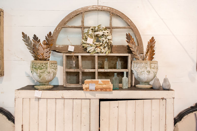 Antique white cabinet at the City Farmhouse Pop Up Fair
