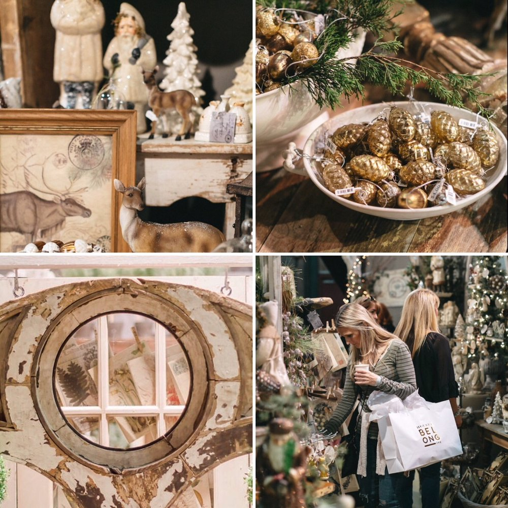 Collage of pictures featuring the City Farmhouse Holiday Market