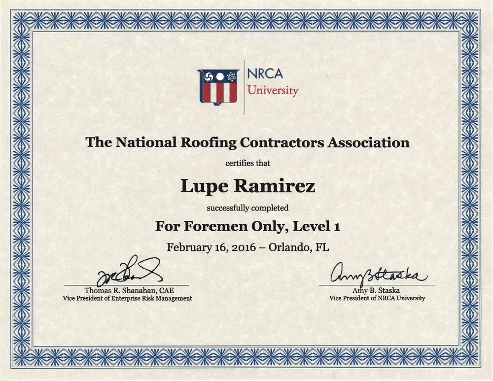 Tacoma Roofing and Waterproofing NRCA Award