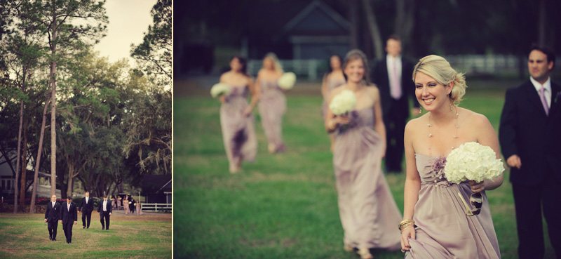 Lange Farm: bridesmaids walking
