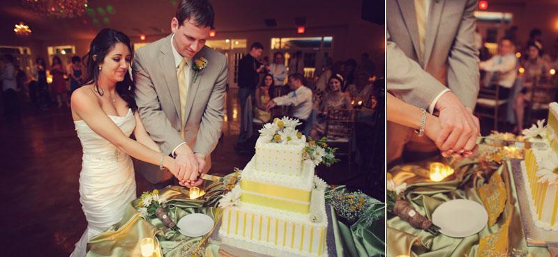 Lange Farm: bride and groom cutting wedding cake