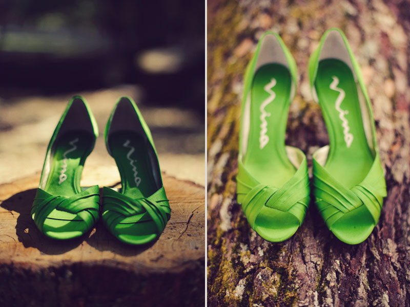 shoes green tree stump