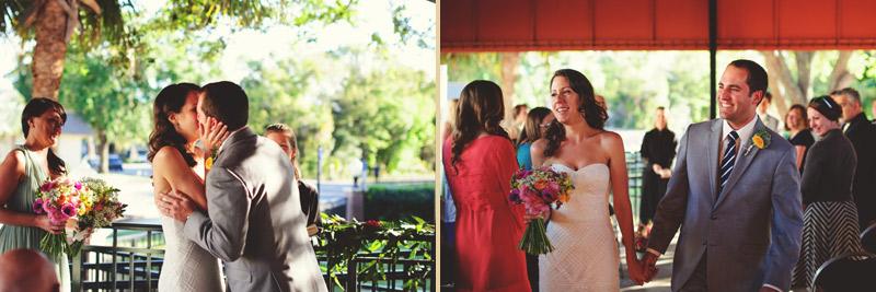 Winter Park Famers Market Wedding: first kiss