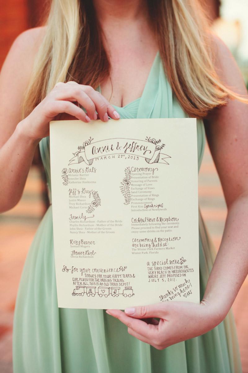 Winter Park Famers Market Wedding: program