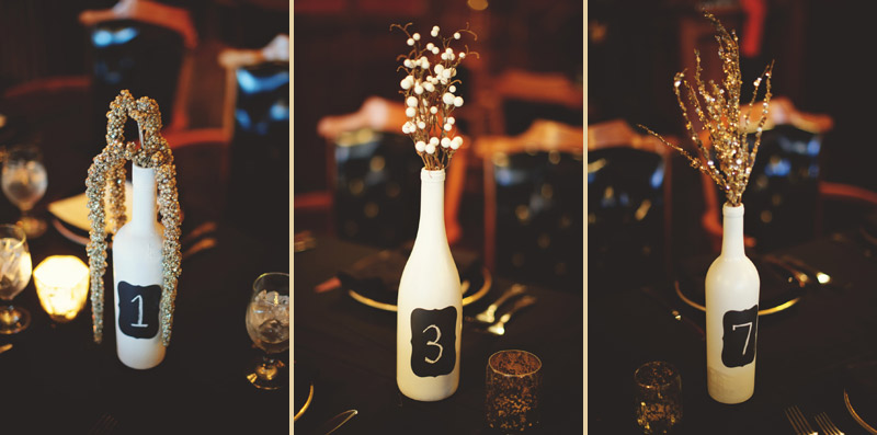 ceviche orlando wedding: bottles and gold