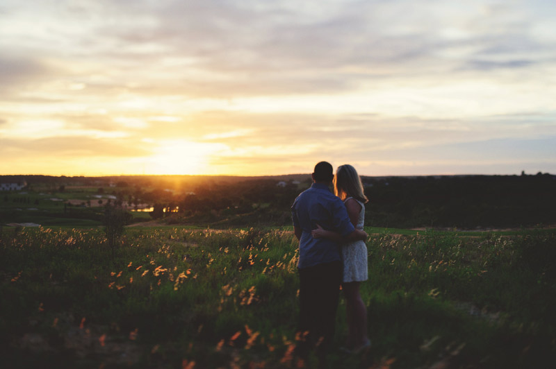 bella collina engagement session: looking out to the sunset