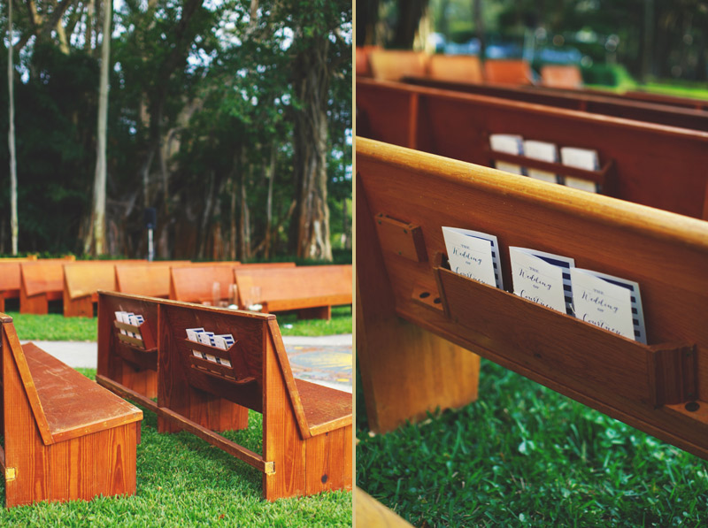 ringling museum wedding: church pews for outside