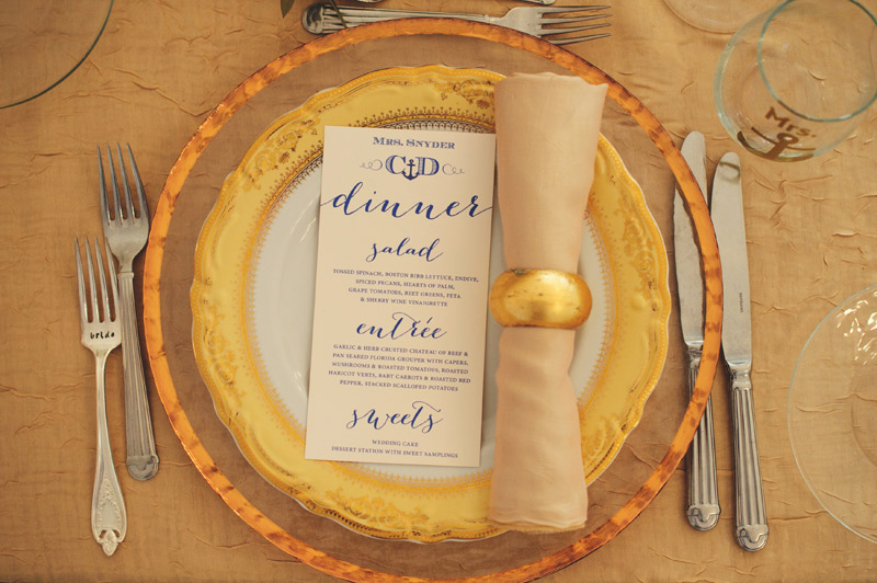 ringling museum wedding: place setting