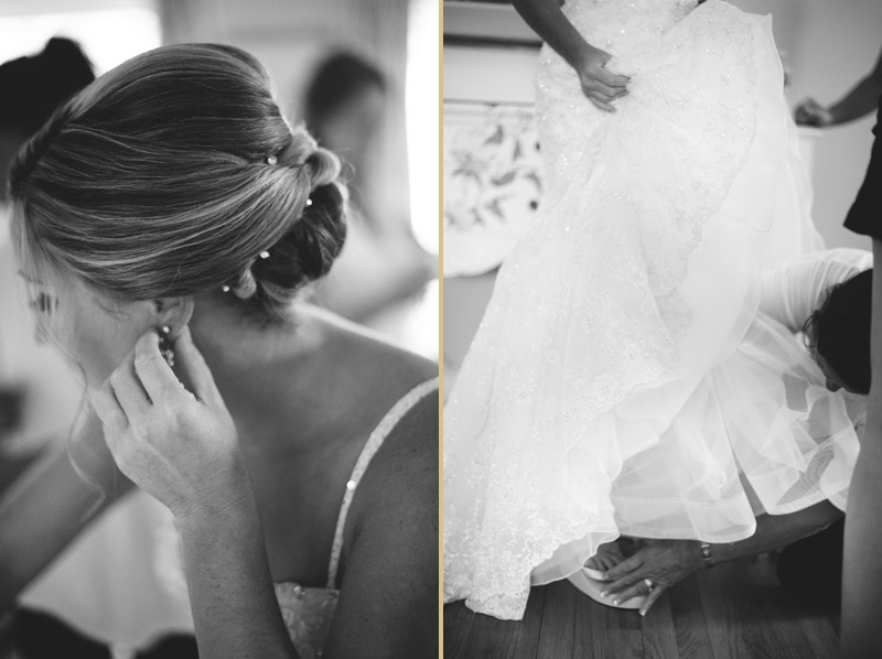 naples backyard beach wedding: bride putting on jewelry, shoes