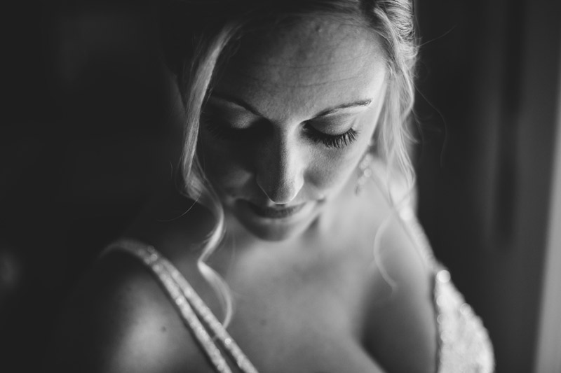 naples backyard beach wedding: bridal portrait using window light