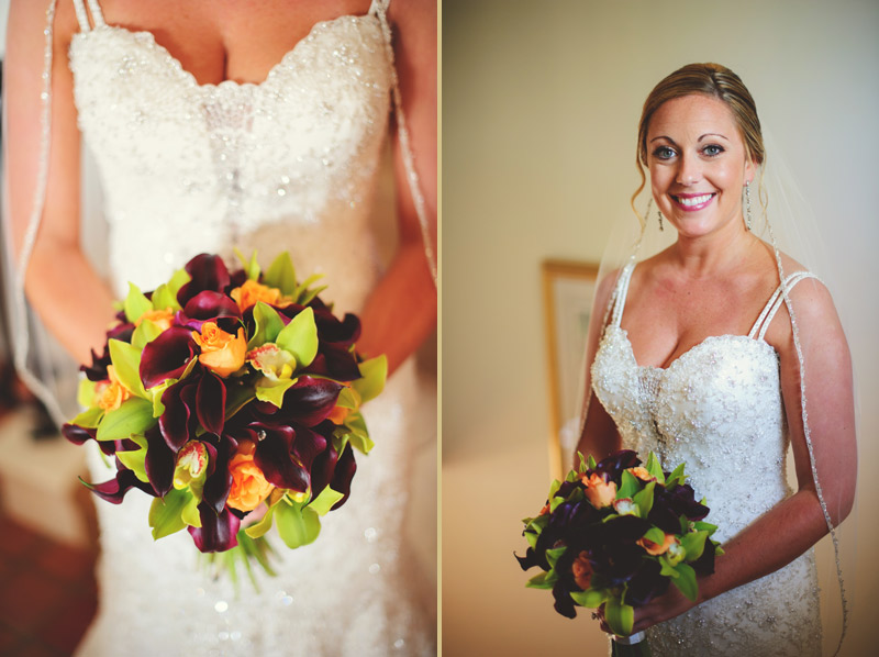 naples backyard beach wedding: bouquet, bride portrait