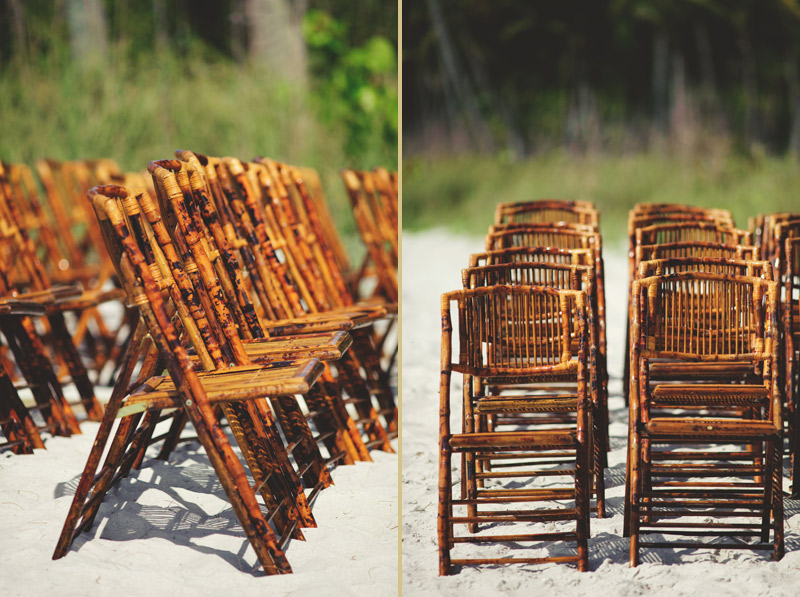naples backyard beach wedding: bamboo chairs