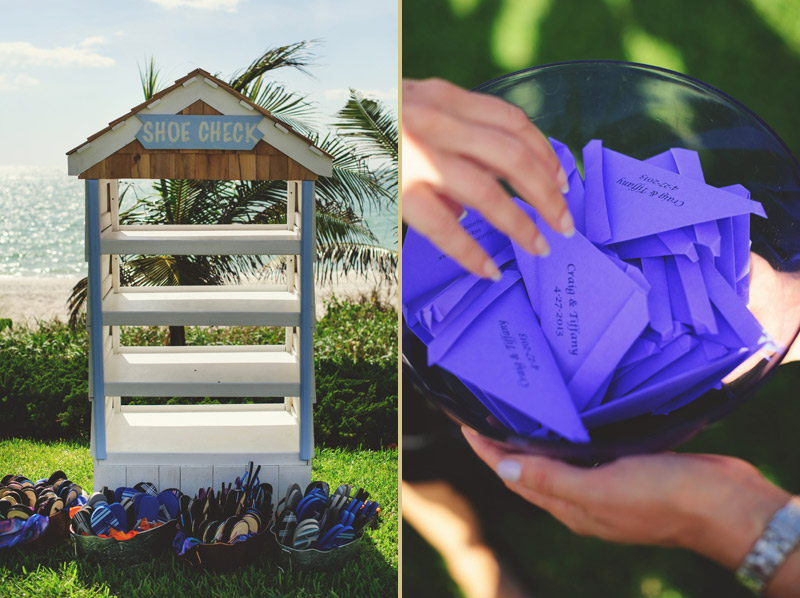 naples backyard beach wedding: flip flops, butterfly