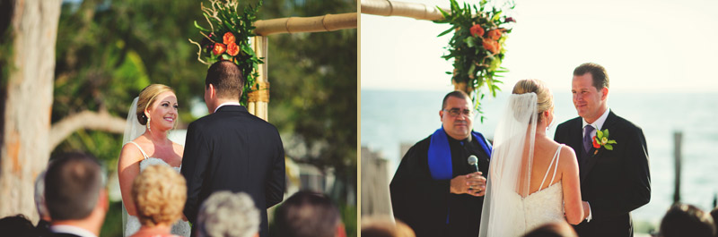 naples backyard beach wedding: bride looking at groom, groom looking at bride
