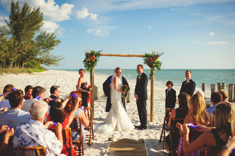 naples backyard beach wedding: butterfly release