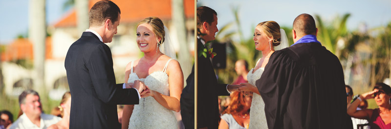 naples backyard beach wedding: bride ring exchange