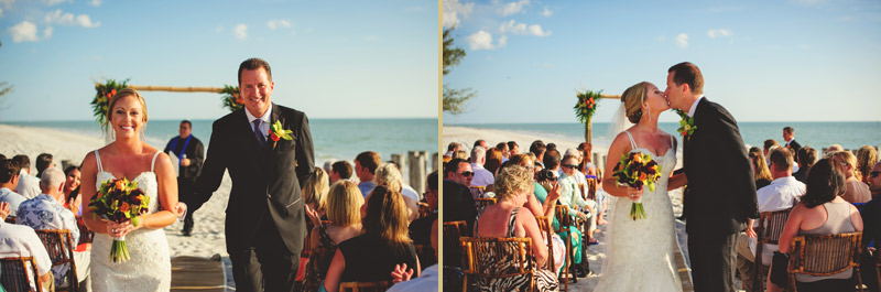 naples backyard beach wedding: bride and groom recessional