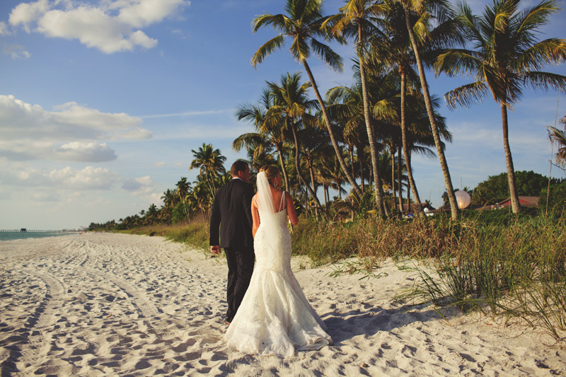 naples backyard beach wedding: bride and groom after ceremony