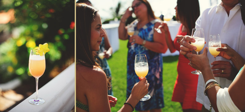 naples backyard beach wedding: cocktails at cocktail hour